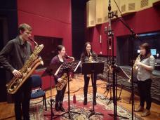 Berkeley St Saxophone Quartet in the recording studio, August 2013