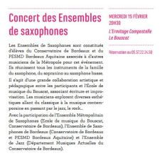 Publicity of our concert in Le Bouscat